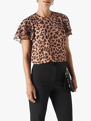 Whistles Brushed Leopard Print Shell Top, Multi