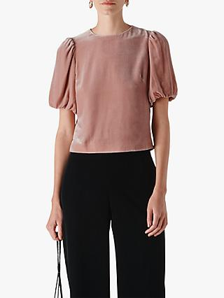 Whistles Velvet Silk Mix Top, Pale Pink