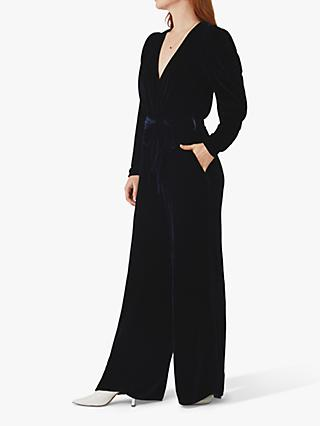 Ghost Ellie Silk Velvet Jumpsuit, Navy