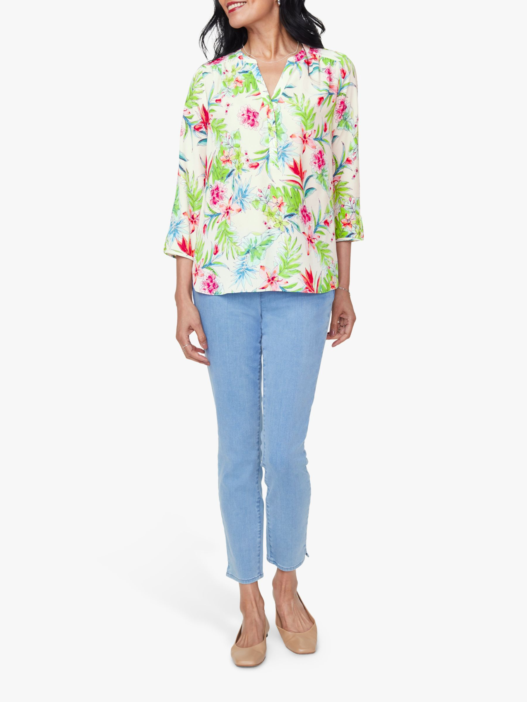 Nydj NYDJ The Perfect Blouse, Tropical Garden White