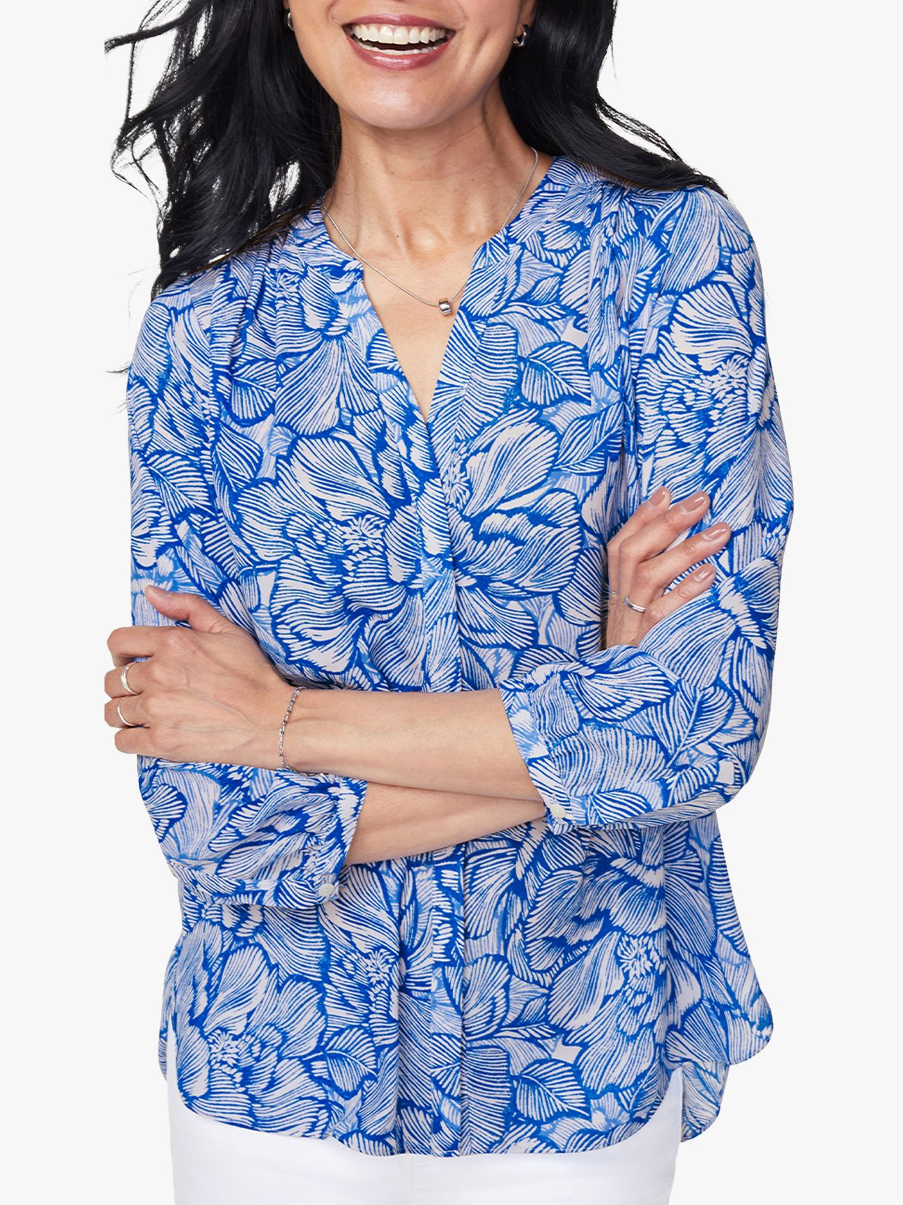 Nydj NYDJ Pintuck Pleat Back Blouse, Blue Cosmos