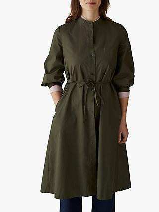 Toast Cotton Sateen Button Through Dress, Olive