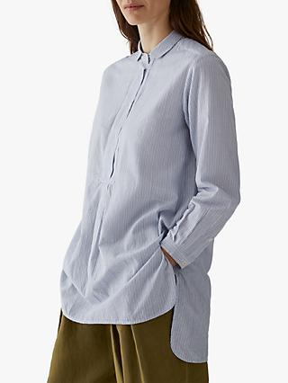 Toast Ticking Stripe Long Shirt, Grey Blue/White