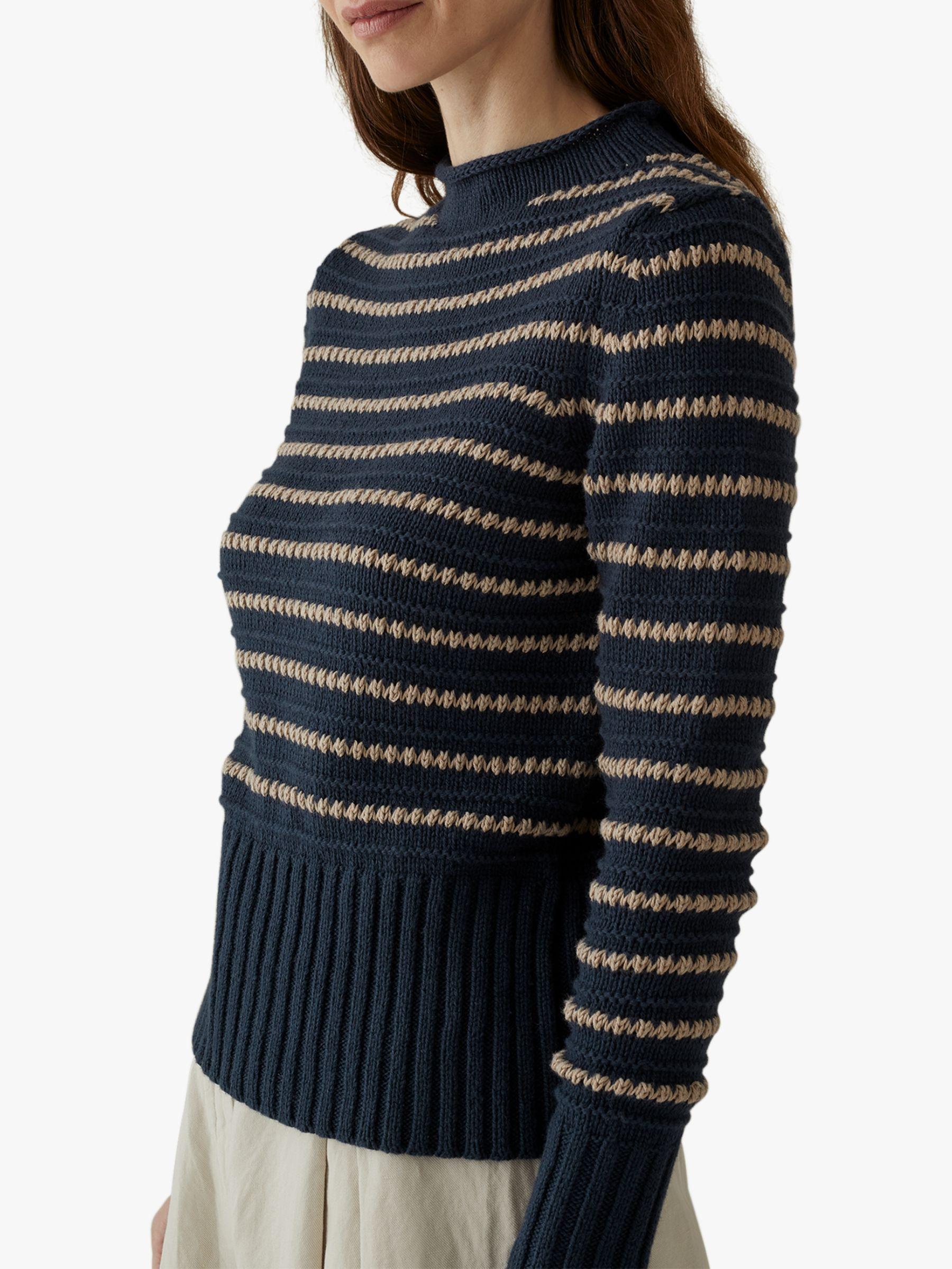 Toast Toast Wool Cotton Textured Stripe Jumper, Navy/Parchment
