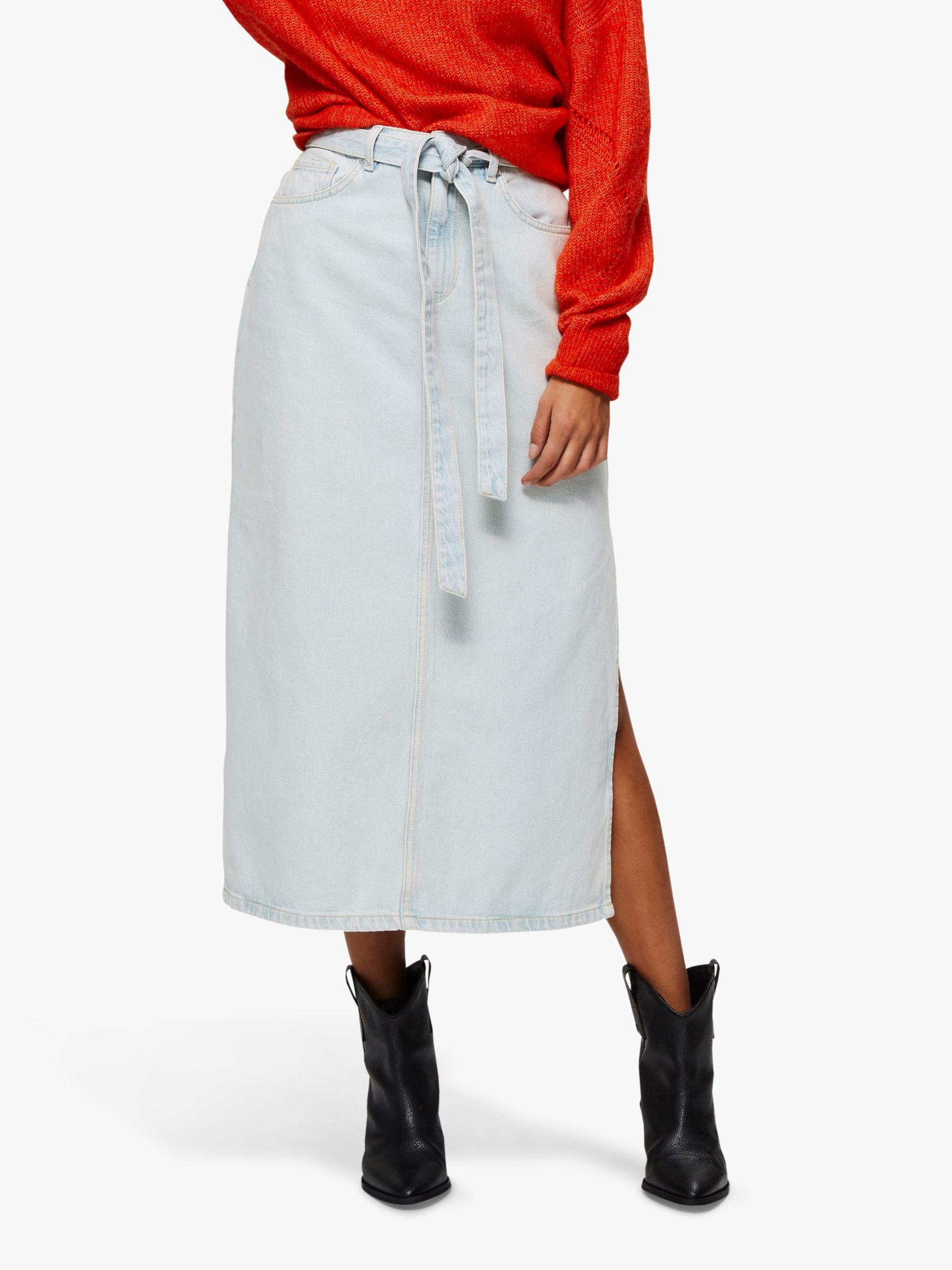 Selected Femme Selected Femme Alma Long Denim Skirt, Ice Blue
