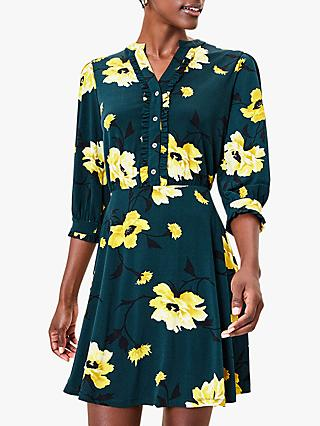 Oasis Fauna Ruffle Floral Shirt Dress, Deep Green