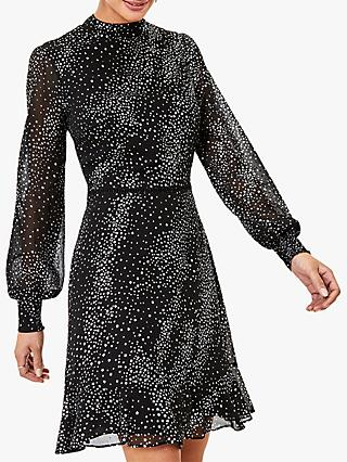 Oasis Glitter Star Mini Dress, Black