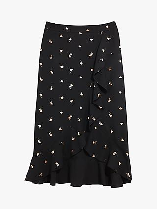 Oasis Foil Leaf Print Wrap Skirt, Black