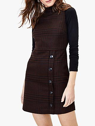 Oasis Poppytooth Shift Dress, Dark Brown