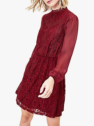 Oasis Funnel Neck Balloon Sleeve Lace Dress, Burgundy