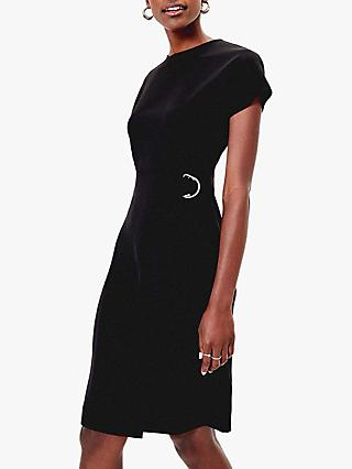 Oasis D-Ring Belt Wiggle Dress, Black