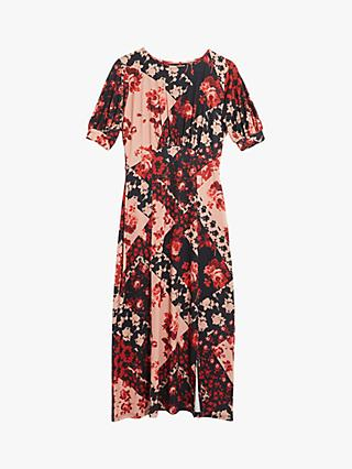 Oasis Rose Print Midi Dress, Red/Multi
