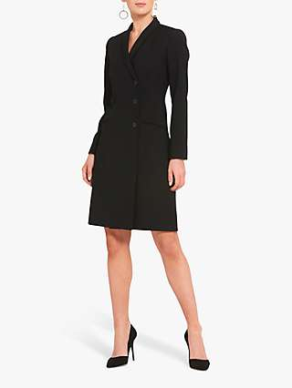 Helen McAlinden Cameron Wool Blend Tuxedo Jacket Dress, Black