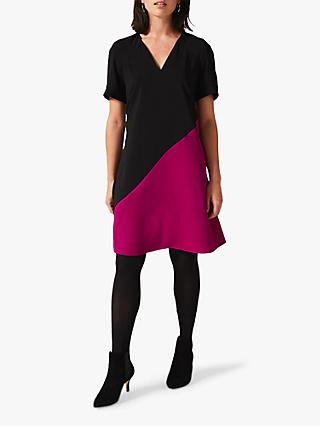 Phase Eight Jodina Colour Block Dress, Black/Purple