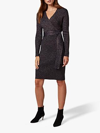 Phase Eight Sady Sparkle Wrap Dress, Navy