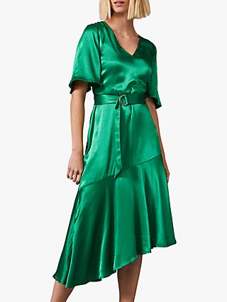 Phase Eight Vivola Asymmetric Satin Dress, Emerald