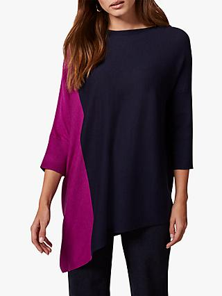 Phase Eight Ana Asymmetric Colour Block Jumper, Magenta/Navy