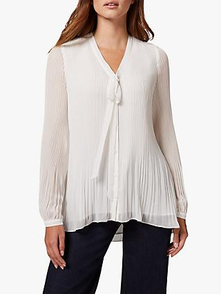 Phase Eight Lily Beth Pleat Tie Neck Blouse, Ivory