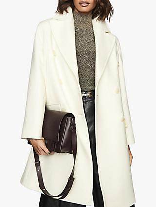 Reiss Alba Double-Breasted Coat, White
