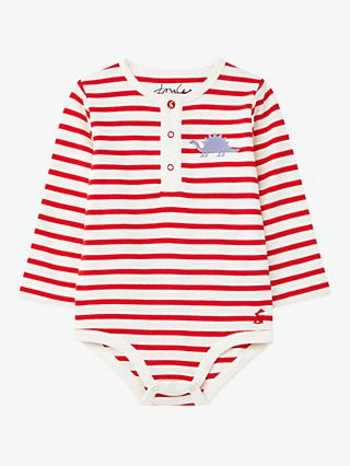 Baby Joule Snazzy Luxe Dinosaur Embroidered Bodysuit, White/Red
