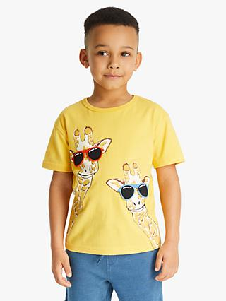 John Lewis & Partners Boys' Interactive Giraffe Print T-Shirt, Yellow