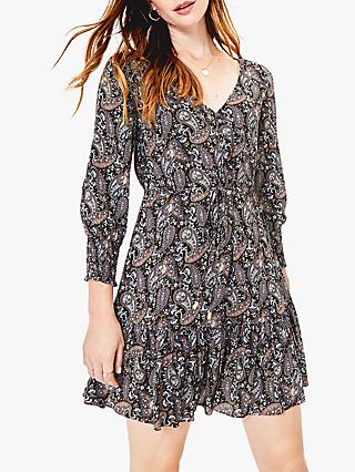 Oasis Paisley Sparkle Dress, Black/Multi