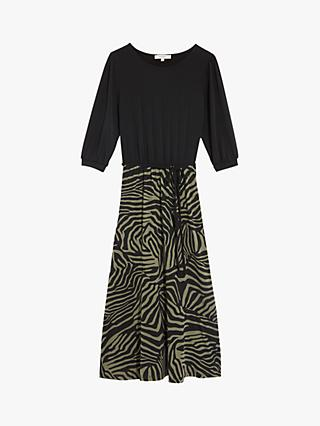 Oasis Tiger Stripe Print Midi Dress, Black/Multi