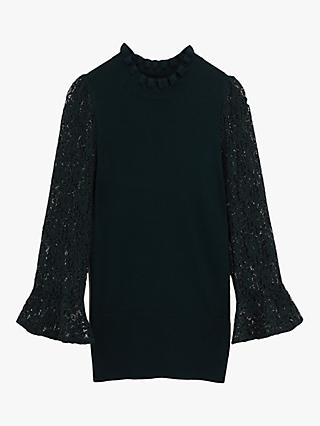 Oasis Scallop Lace Knit Jumper, Deep Green