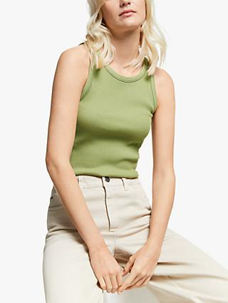 Gestuz Rolla Sleeveless Ribbed Top, Dried Herb