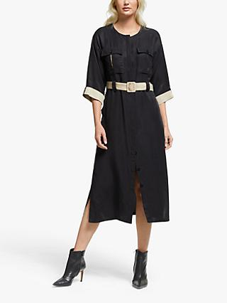 Gestuz Lorah Belted Shirt Midi Dress, Black