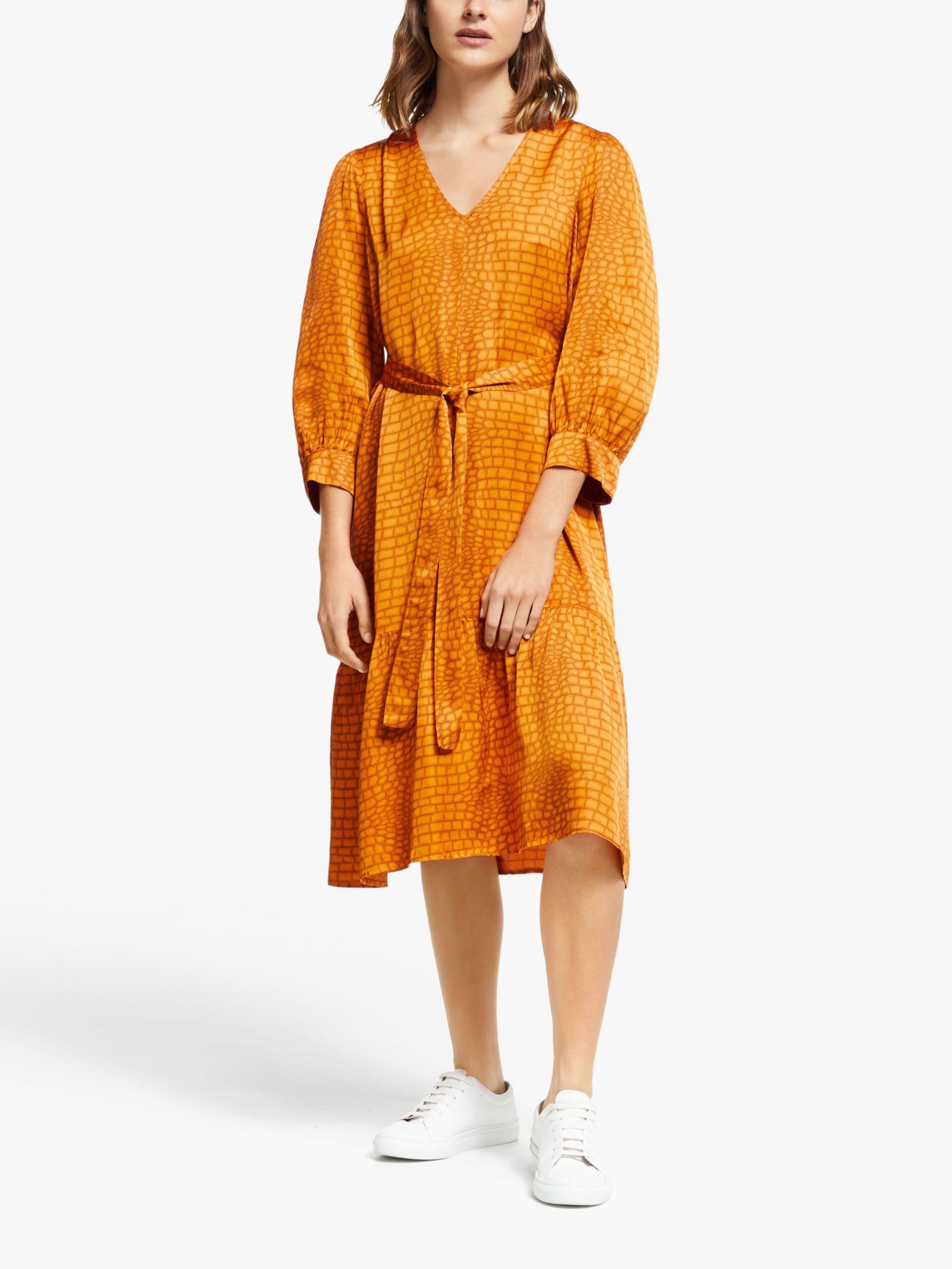 Gestuz Gestuz Tabby Animal Print Belted Flared Dress, Golden Oak