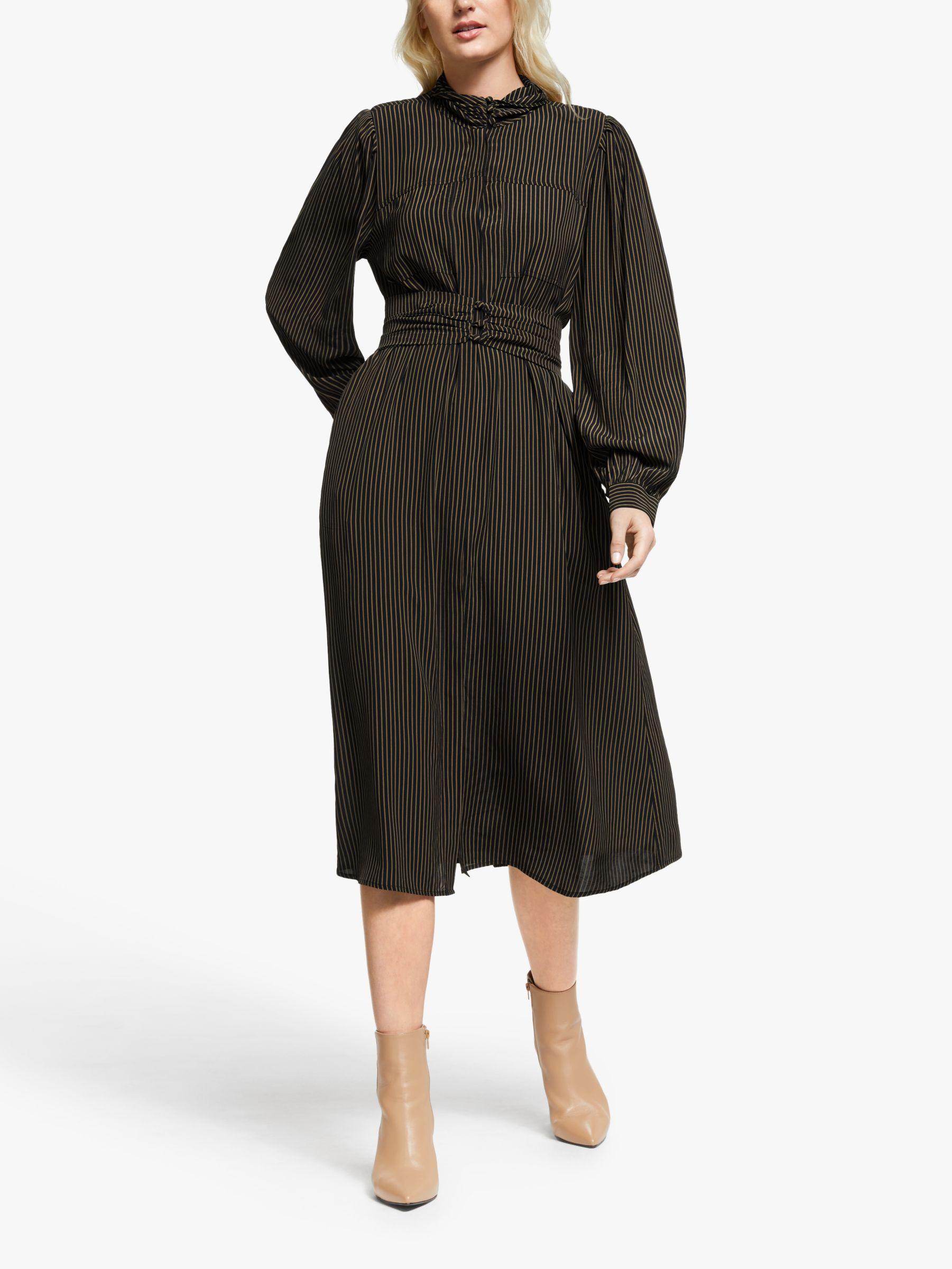 Gestuz Gestuz Levira Stripe Midi Dress, Black/Capers