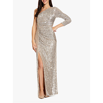Product photo of Adrianna papell draped sequin asymmetric gown silver