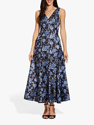 Adrianna Papell Jacquard Floral Midi Dress, Blue/Multi
