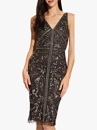 Adrianna Papell Bead Sheath Dress, Black/Multi