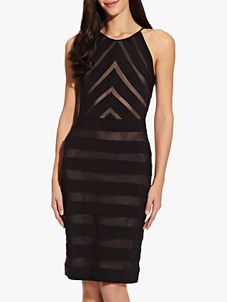 Adrianna Papell Mitered Jersey Dress, Black/Pale Pink