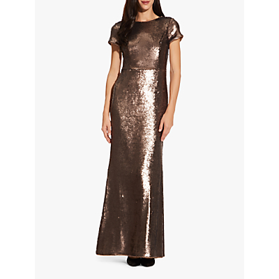 Product photo of Adrianna papell metallic sequin mermaid gown dark mink