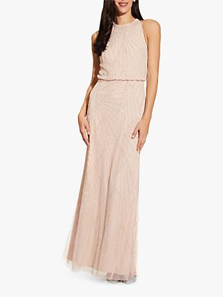 Adrianna Papell Halter Beaded Maxi Dress, Shell