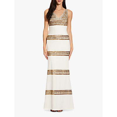 Product photo of Adrianna papell beaded long dress ivory gold