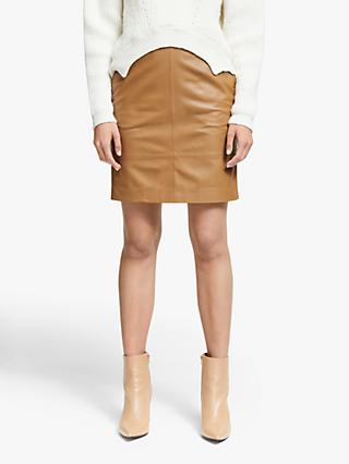 Gestuz Chargz Leather Mini Skirt, Bone Brown