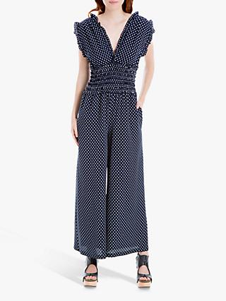 Max Studio Polka Dot Frill Wide Leg Jumpsuit, Navy/White