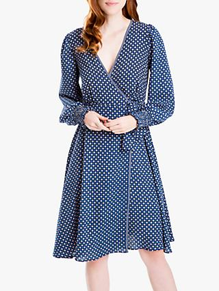 Max Studio Geometric Print Wrap Dress, Navy/Multi