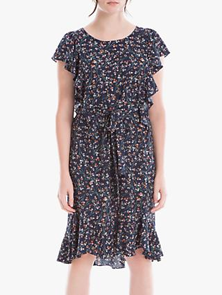 Max Studio Cap Sleeve Floral Print Frill Dress, Navy