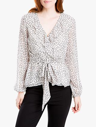 Max Studio Heart Print Wrap Top, White
