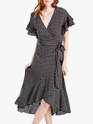 Max Studio Sleeveless Heart Print Wrap Dress, Black/Red