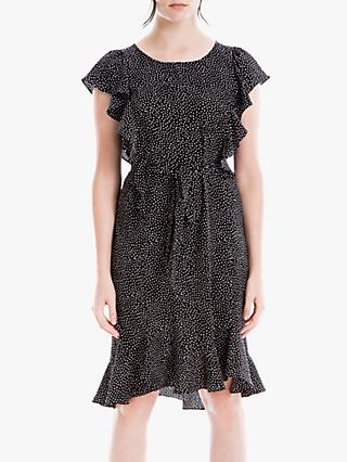 Max Studio Cap Sleeve Print Frill Dress, Black/Ivory