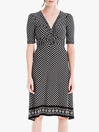 Max Studio Geometric Print V Neck Dress, Black/Ivory