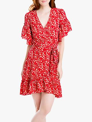 Max Studio Floral Print Ruffle Wrap Dress, Scarlet