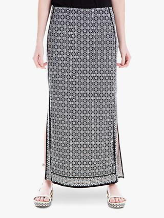 Max Studio Printed Jersey Maxi Dress, Black/Ivory
