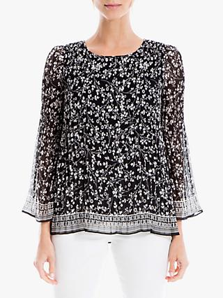 Max Studio Ditsy Floral Pleat Top, Black/Ivory